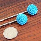 Glitter Light Blue Mum Flower Bobby Pins Hair Pins Handmade