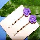 Purple Rose Flower Bobby Pins Hair Pins Handmade