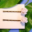 Light Pink Rose Flower Bobby Pins Hair Pins Handmade