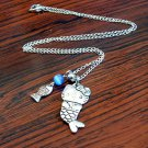 Silver Mermaid Hello Kitty with Fish Pendant Handmade Necklace