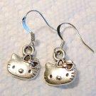Silver Tone Cute Hello Kitty Earrings