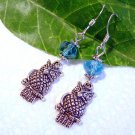 Silver Owl Bird with Blue Swarovski Crystals Earrings