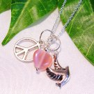 Dove Bird Peace Sign Charms w/ Pink Heart Sterling Silver Handmade Necklace