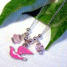 Handmade Pink Dove Pigeon Bird with Swarovski Crystals Pendant Silver Necklace