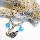Silver Swan with Blue Swarovski Crystals Handmade Pendant Necklace