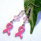 Pink Ribbon Breast Cancer Awareness Charm w/ Crystal Sterling Handmade Earrings