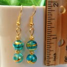 Round Lampwork Glass Beads with Foil Swirl Gold Earrings - Pink Blue or Green