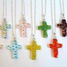 Millefiori Cross Sterling Silver Necklace-Choose Color