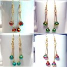 Gold Tone Round Glass Beads Handmade Earrings - Pink, Blue, Green or Red