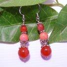 Dark Pink Orange/Pink Gemstone Sterling Silver Handmade Dangle Earrings