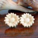 Ivory Cream Sunflower Post Earrings Studs Handmade