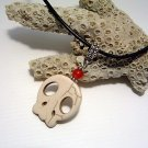 Off-white Howlite Scull & Red Jade Gemstone Pendant Leather Cord Necklace
