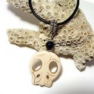 Off-white Howlite Scull & Black Onyx Gemstone Pendant Leather Cord Necklace