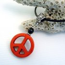 Red Howlite Peace Sign and Black Onyx Gemstone Pendant Leather Cord Necklace