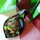 Black Lampwork Glass Pendant Necklace
