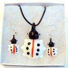 Ladybug Lampwork Glass Pendant Necklace & Earrings Set