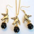 Gold Tone Dove Bird with Black Onyx Gemstone Handmade Earrings Necklace Gift Set