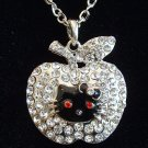 Black Hello Kitty Face in Rhinestone Apple Pendant Silver Necklace