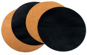 """Black Leather Mouse Pad 7"""" Round"""