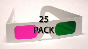 25 pack New! Magenta/Green 3D Glasses - Paper Anaglyph
