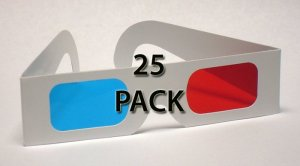 25 pack Classic Red/Cyan Lenses 3D Glasses - Paper Anaglyph