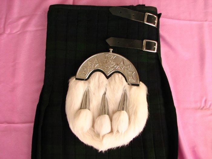 Black Watch Tartan Kilt \Rabbit Fur Sporran