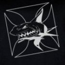 Men's Black T-Shirt with Metallic Silver Shark Design Premium 6.1 Magnum Wt.