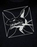 Men's Black T-Shirt with Metallic Silver Shark Design Premium 6.1 Magnum Wt.