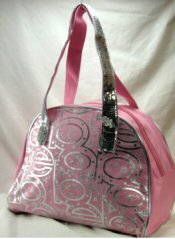 Microfiber Dome Tote Handbag with Silver Front Letters