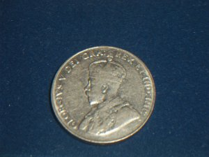 1929 Canadian five cent 5 nickel