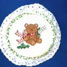 HANDMADE CROSS STICH CHRISTMAS BEAR ORNAMENT - 1986