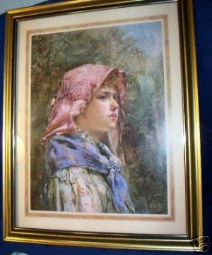FRAMED PRINT, GIRL IN BONNET 1887 REPRINT