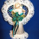 CORN HUSK & LACE ANGEL OR BRIDAL DOLL W GREEN BOUQUET