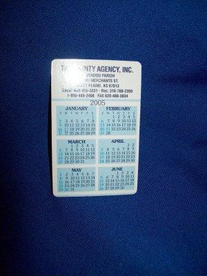 TRI-COUNTY INSURANCE CALENDAR CARD - 2005 -BELLE PLAINE, KANSAS