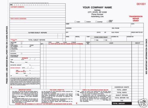 TROCC-633: Carbonless Transmission Repair Order 4 part