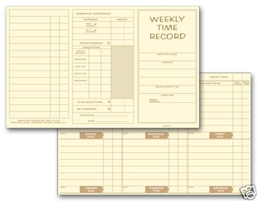 220: Weekly Time Record Pocket size QTY. 250