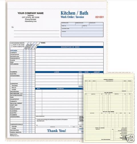 KBWCC-871 Kitchen-Bath Work Order/Invoice 3 Pt QTY. 250