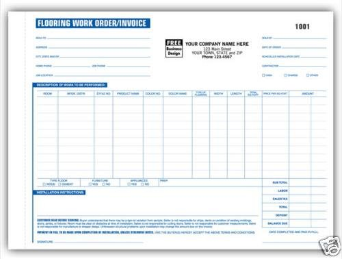 268 flooring work order invoices 3 part qty 250