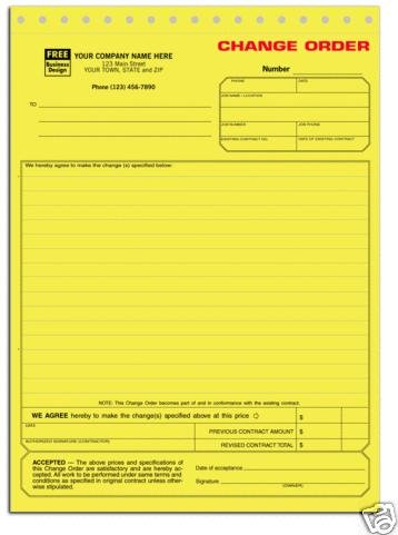 271 Change Order Form 3 Part QTY. 250