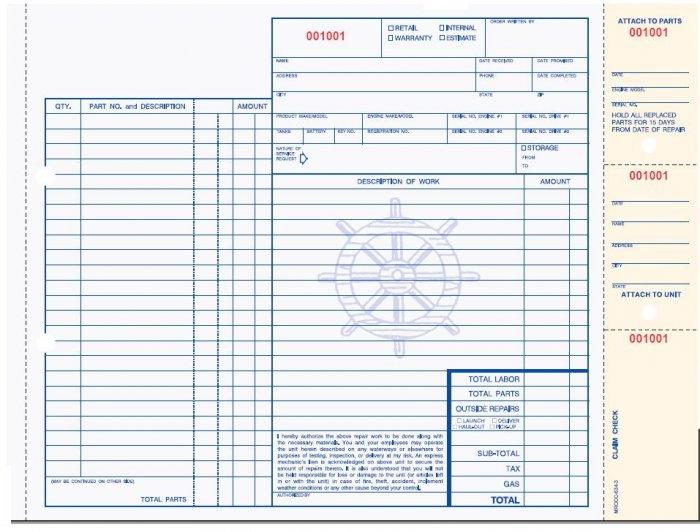 MROCC-634 Marine Repair Order w/Claim Tag, 3pt Qty.250