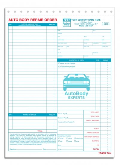6597, Auto Body Repair Orders, 3 Part QTY. 250