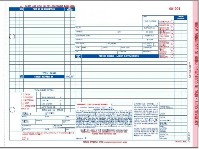 California auto repair order form arocc 648 4 part for Custom home estimate template