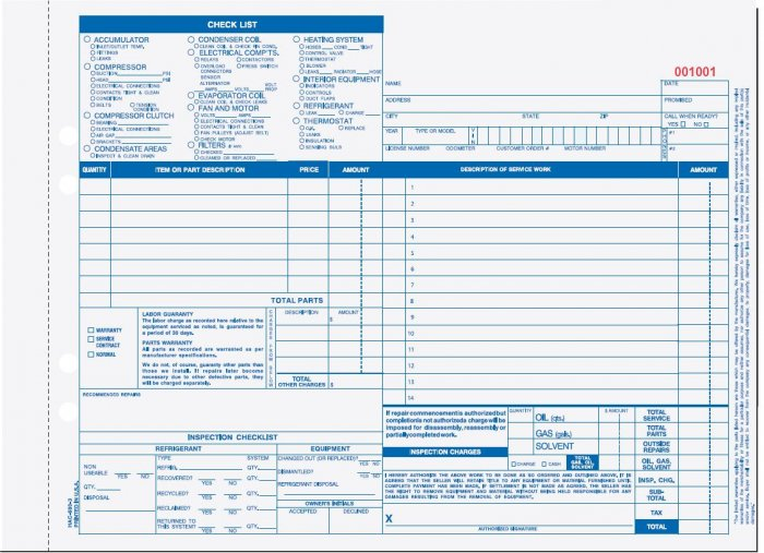3-Part Auto Heating & Air Conditioning Form, HAC-680