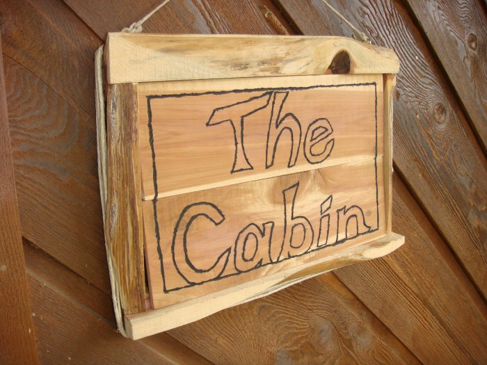 """The Cabin"" Rustic Cedar Wooden Sign, Natural"