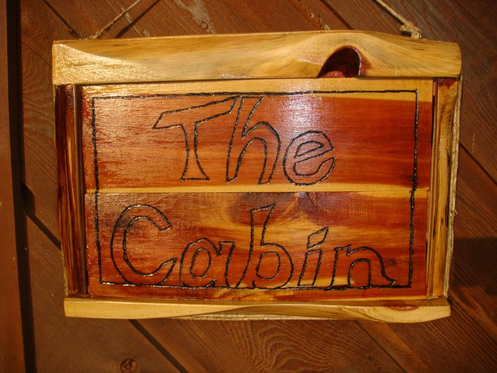 """The Cabin"" Rustic Cedar Wooden Sign, Finished"