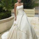 New sexy Prom/Ball/Evening strapless white WeddingDress Custom Size  voile&satin W002-12