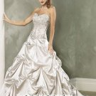 New sexy Prom/Ball/Evening strapless argent WeddingDress Custom Size  voile&satin W002-14
