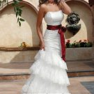 New sexy Prom/Ball/Evening white WeddingDress Custom Size  voile&satin W002-34