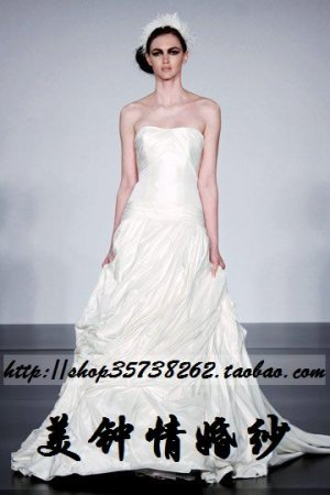 New sexy Prom/Ball/Evening strapless white WeddingDress Custom Size  voile&satin W002-54