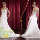New sexy Prom/Ball/Evening strapless white WeddingDress Custom Size  voile&satin W002-59